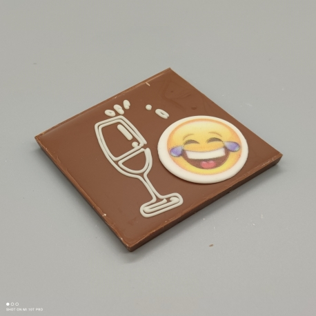 Smally - chocolate with glass and smily   chocolate with message   1/2 Lindt bar   chocolate gift   smaller occasions